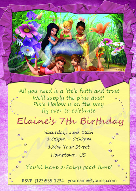Personalized Photo Invitations – Tinkerbell Party Invitation