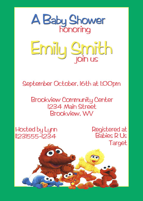 Personalized photo invitations cmartistry - Sesame street baby shower ...