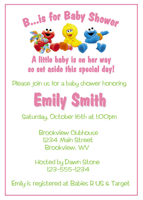 Personalized photo invitations cmartistry sesame street baby shower invitations diy printable - Sesame street baby shower ...