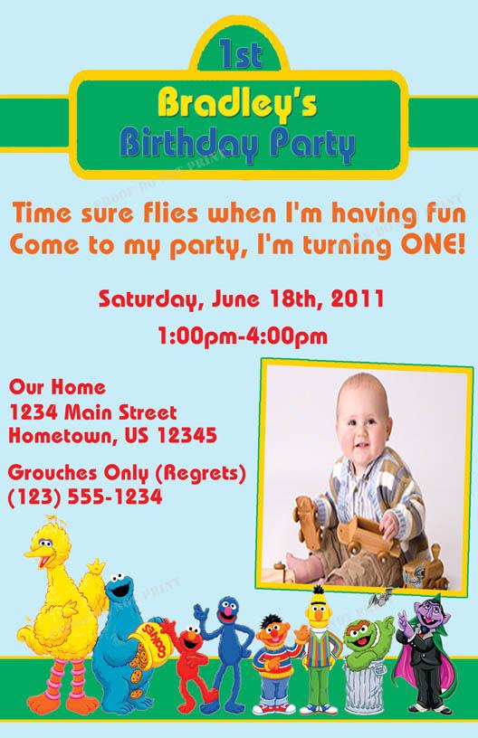Personalized Photo Invitations – Sesame Street Party Invitations Personalized