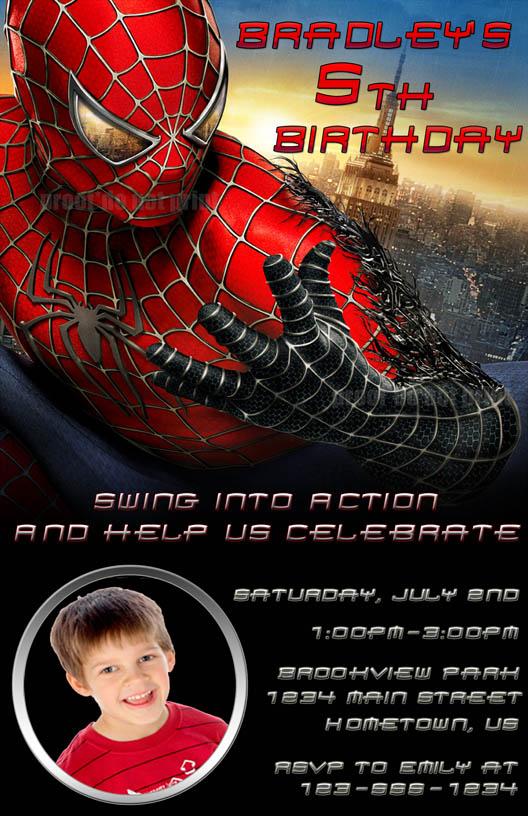 spiderman birthday photo party invitations diy printable printed cards ...