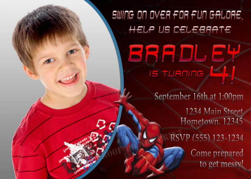 ... : Spiderman Web Birthday Photo Party Invitations - DIY Printable