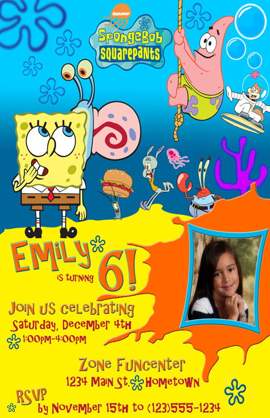 SpongeBob Birthday Party Photo Invitation