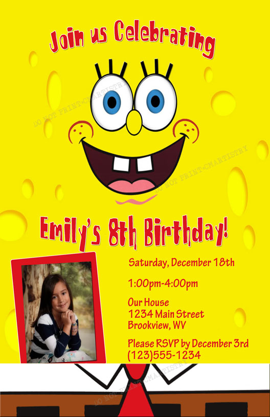Personalized Photo Invitations – Spongebob Party Invitations