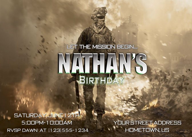 Personalized printable invitations cmartistry call of duty call of duty modern birthday party invitations diy printable filmwisefo Image collections