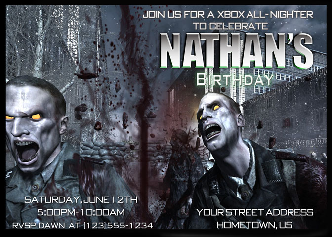 Cmartistry call of duty nazi zombies birthday party invitation diy printable filmwisefo