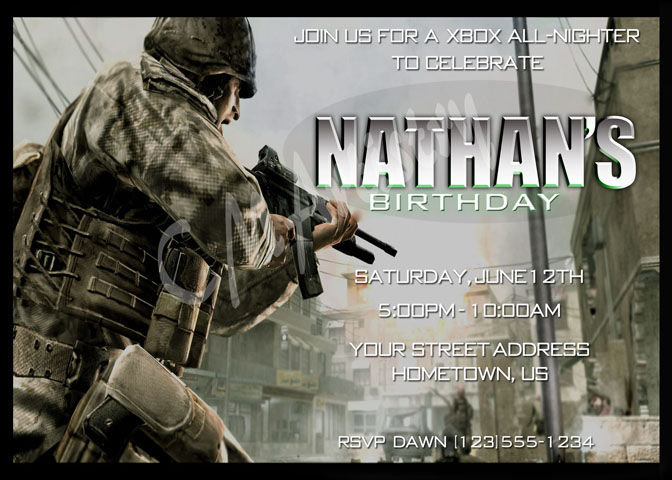 Personalized Printable Invitations Cmartistry Call of Duty City