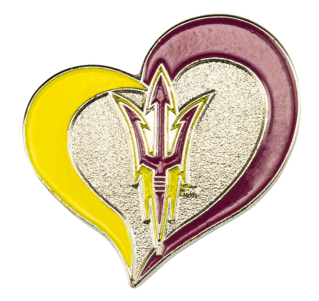 "Arizona State Sun Devils Lapel Pin 1"" Heart Design"