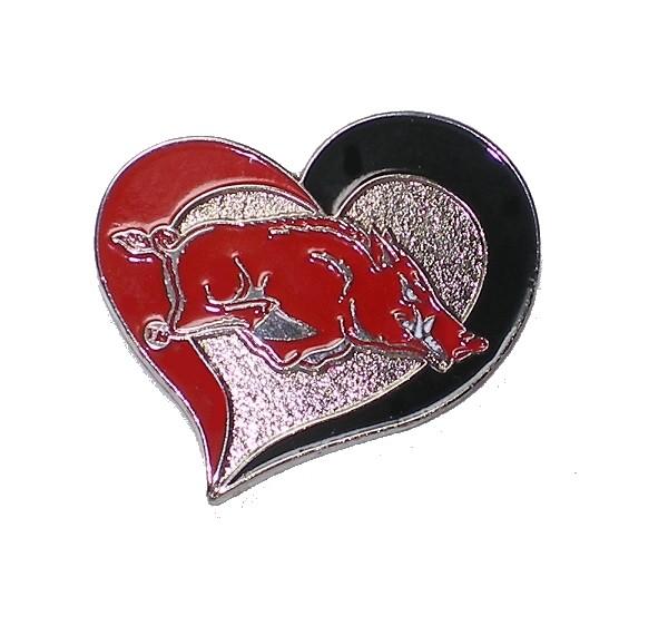 "Arkansas Razorbacks Lapel Pin 1"" Heart Design NCAA"