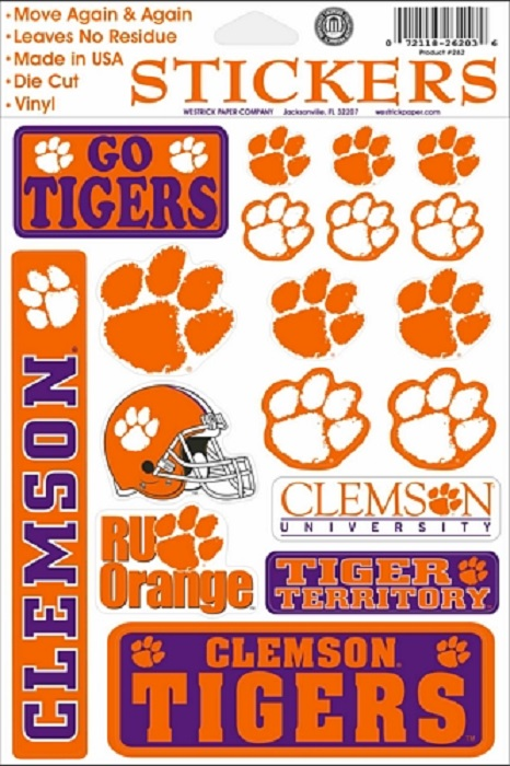 """Clemson Tigers Vinyl Cling Decals 6"""" by 9"""" Sheet o"""