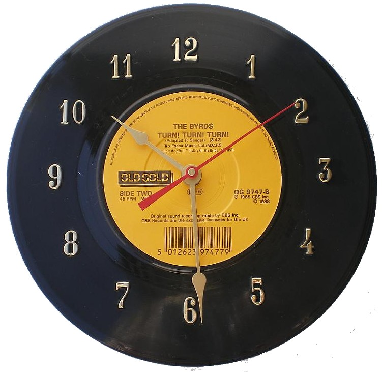 45 Record Clock The Byrds Turn Turn Turn Wall Cloc