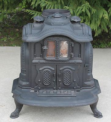 Antique 19th c Cast Iron Fuller & Warren Parlor Stove Onward Pat. 1860