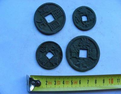Memory135 Chinese Bronze Round Coin Old Character Square