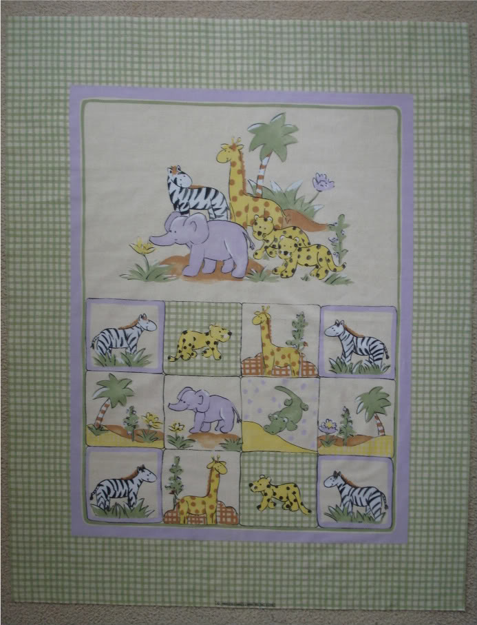 Lillysroom Cot Quilt Panel Jungle Animals