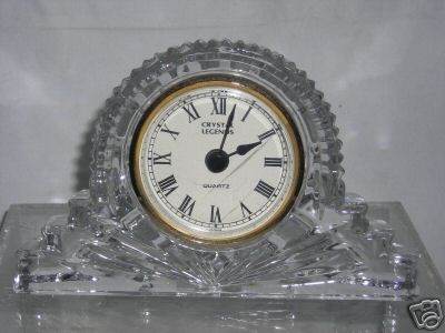 Godinger Crystal Legends Lead Crystal Large Mantle Clock 6inch 4inch