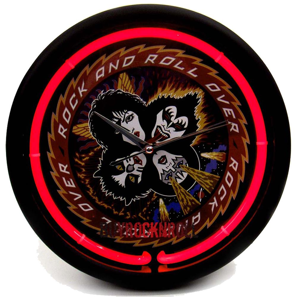 KISS-Collectors-Memorabilia-2007-Rock-Roll-Over-LP-Album-Neon-Light-Clock