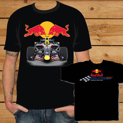 Red Bull Racing Formula One Black T-Shirt F1 tee S-XXXL
