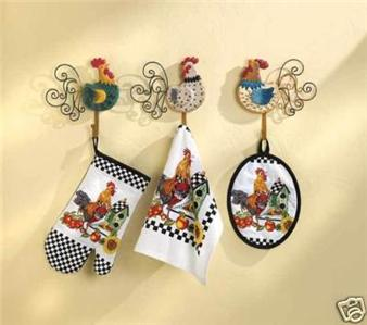 Superbe Colorful Country Rooster Kitchen Set