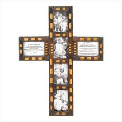 The Fog Shoppe Cross Collage Rattan Photo Frame The Lords Prayer New