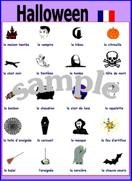Expand Your French Halloween Vocabulary Poster With Pronunciation