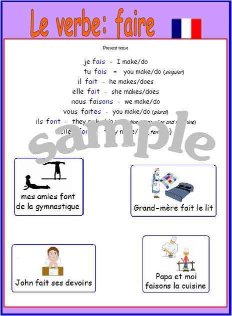 Irregular verb faire poster with pronunciation price 2 00 verb