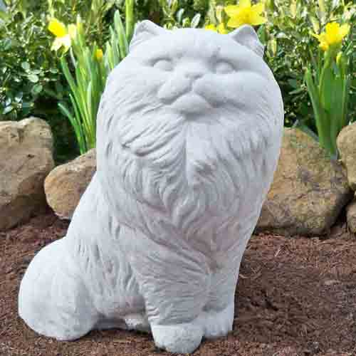 A Delightful Long Haired Cat Statuary. A 8 Inch Tall Cat Memorial Garden  Statue.