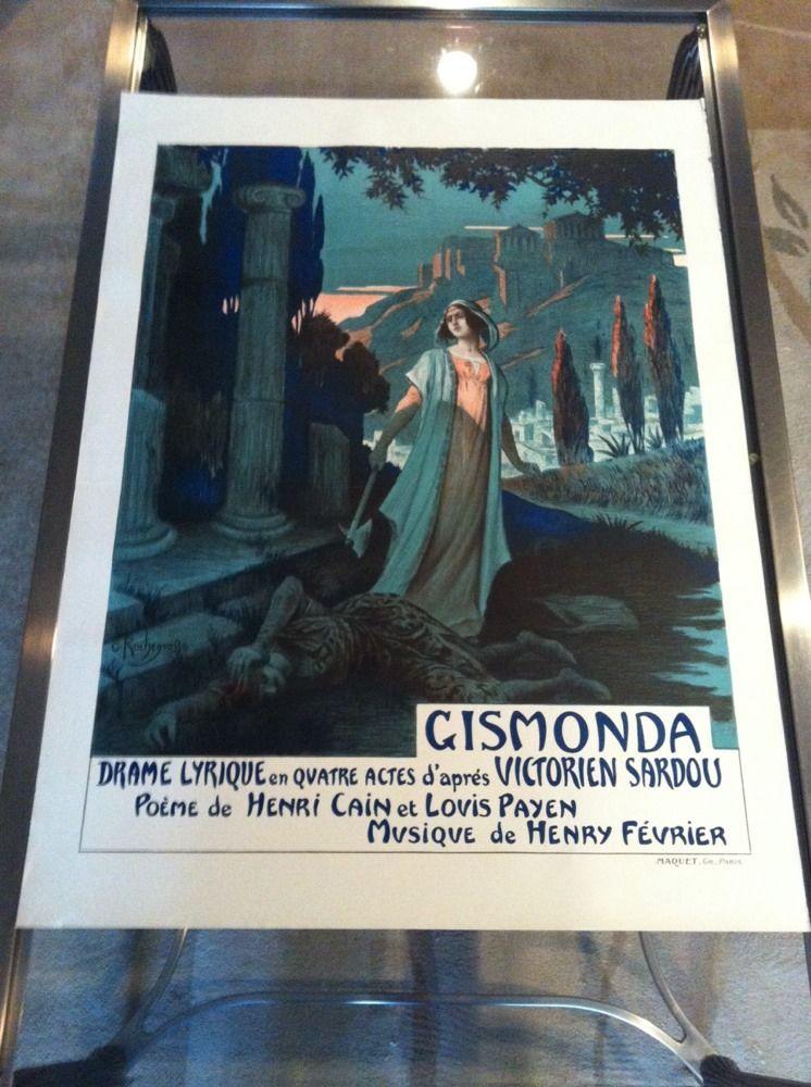 Old Original Vintage Poster For Opera Gismonda By