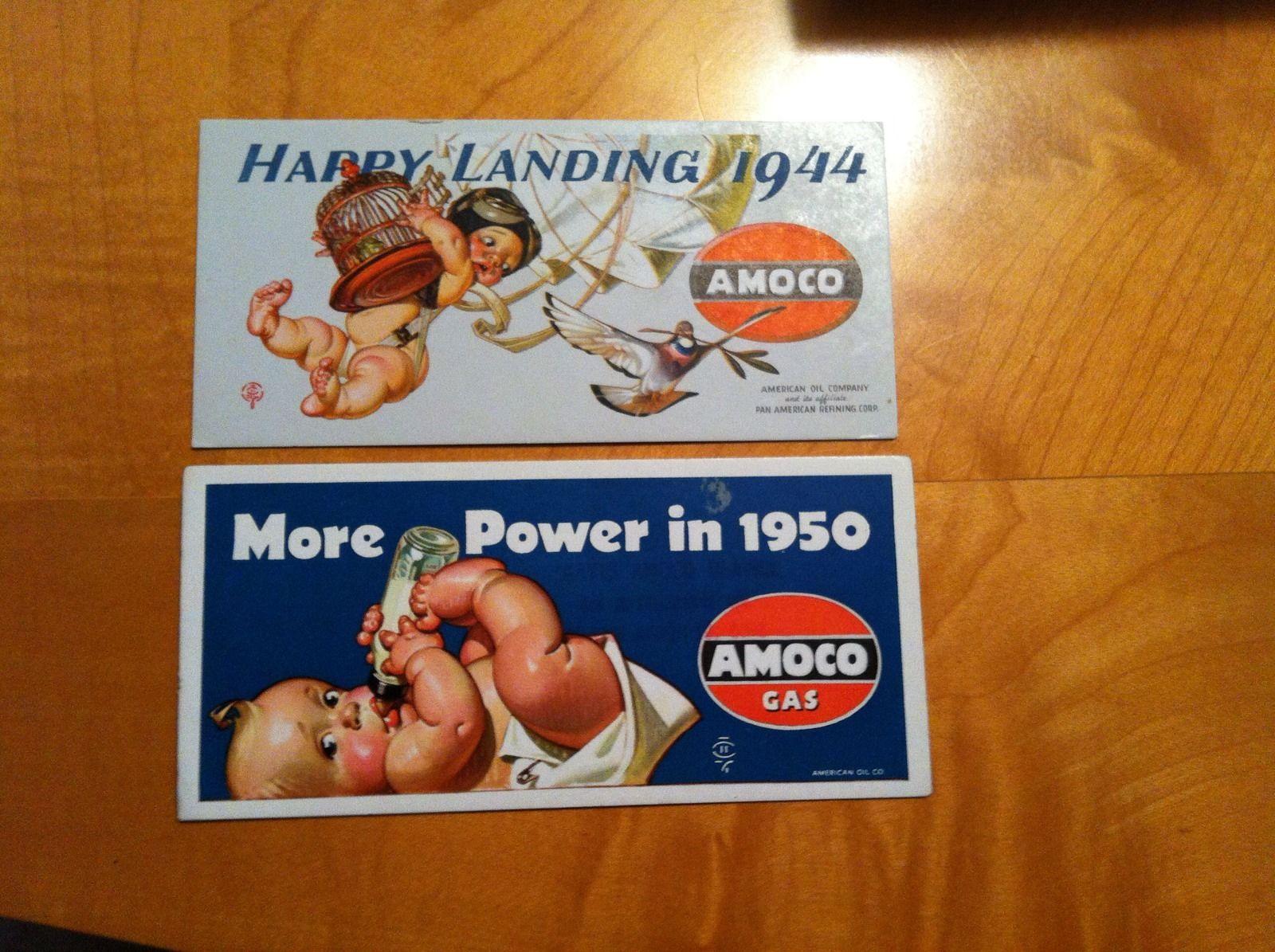 J C LEYENDECKER AMOCO GAS OIL BLOTTERS 1944 & 1950