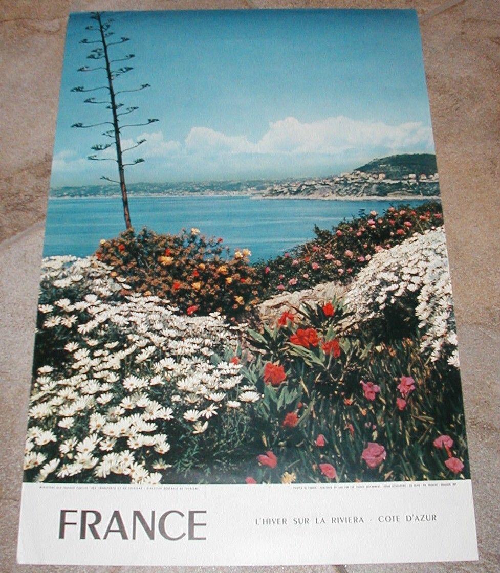 FRANCE TRAVEL POSTER 1960's L'HIVER SUR LA RIVERIA