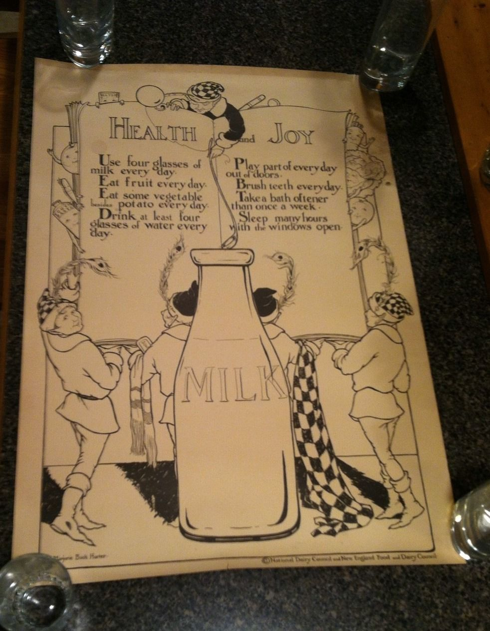 VINTAGE ORIGINAL Health Joy Milk Poster National D