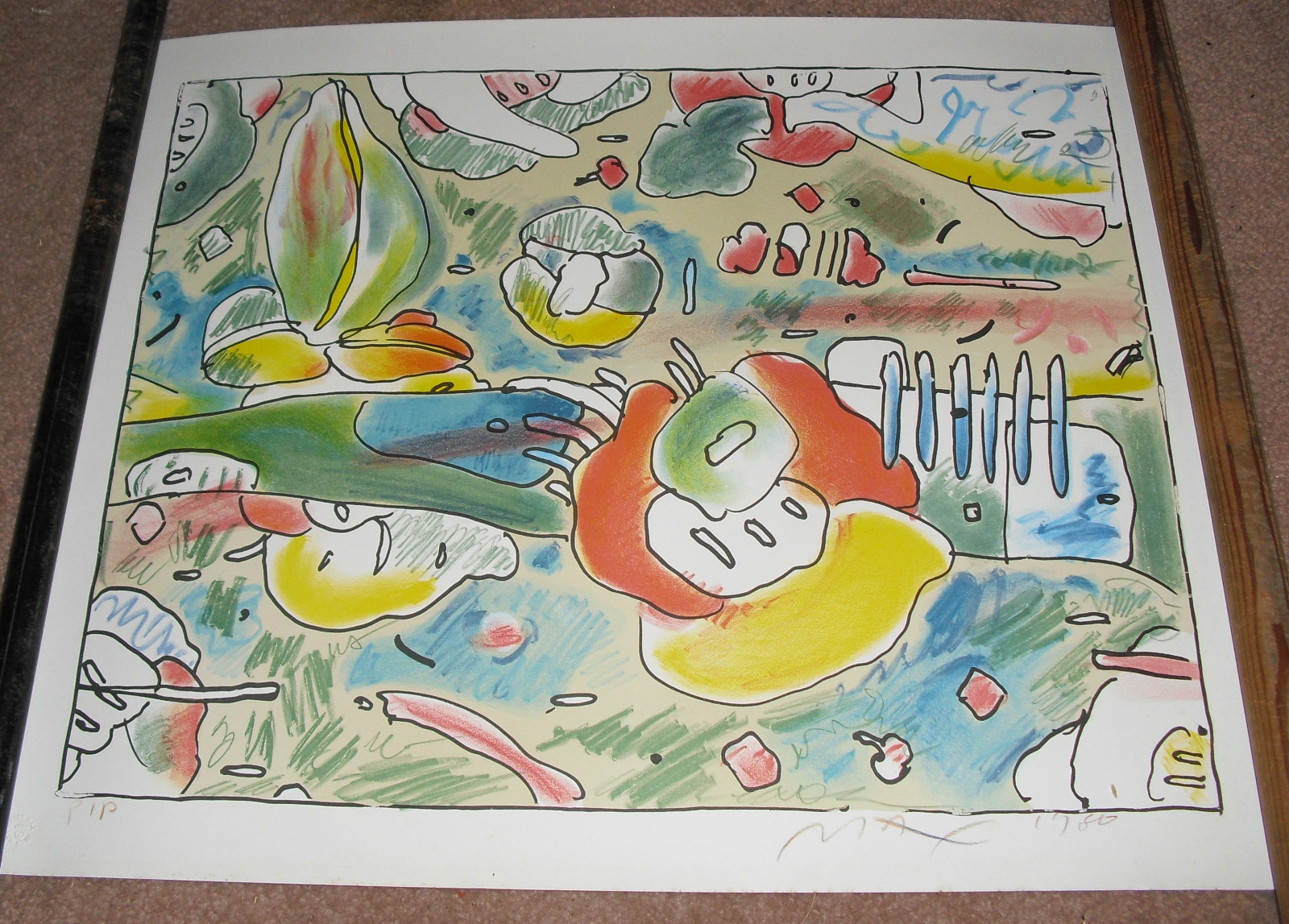 "1980 Peter Max Lithograph ""FLOWER ABSTRACT""  Print"