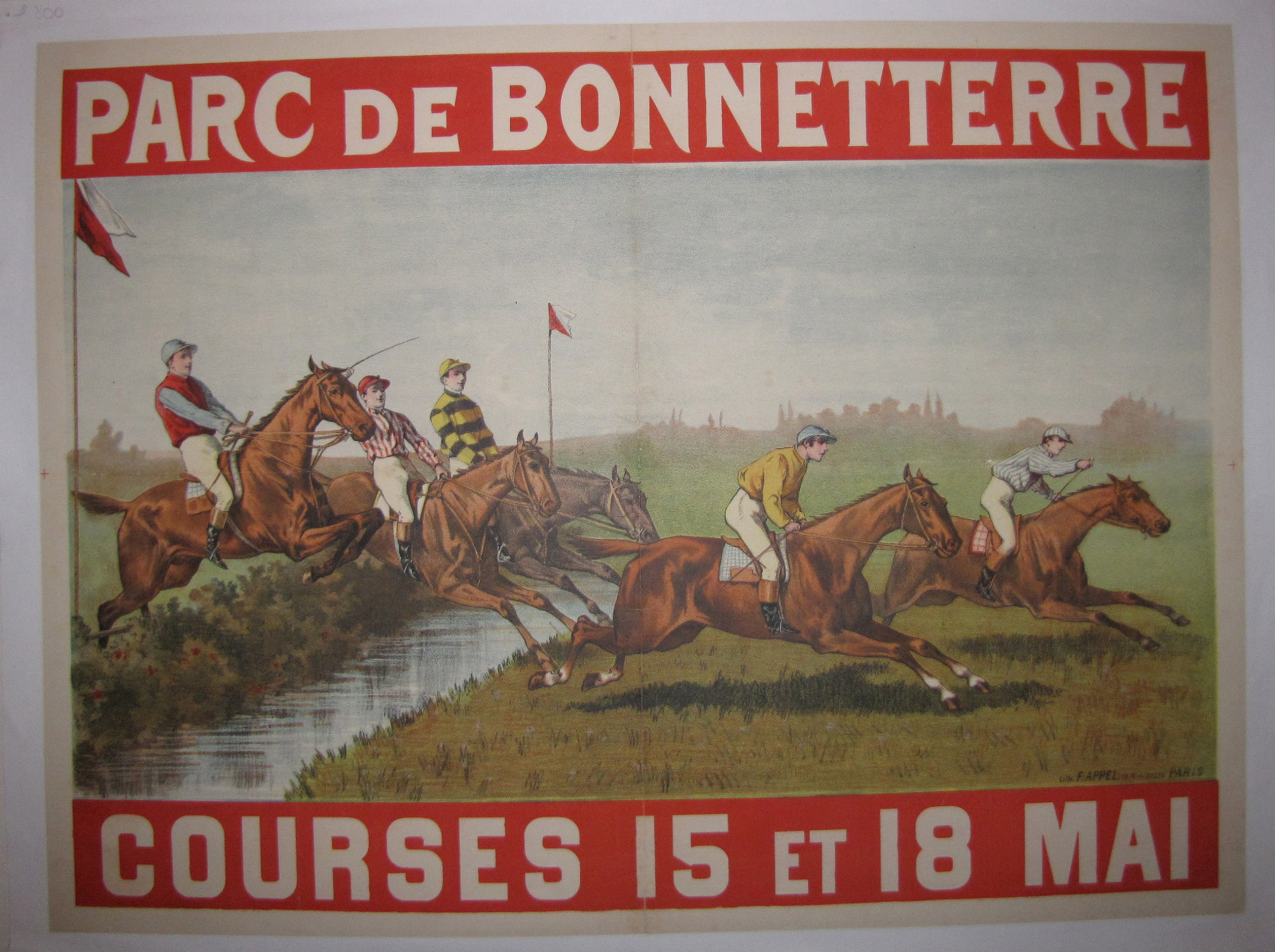 ORIGINAL LINEN BACKED POSTER, COURSES DE CHEVAUX,