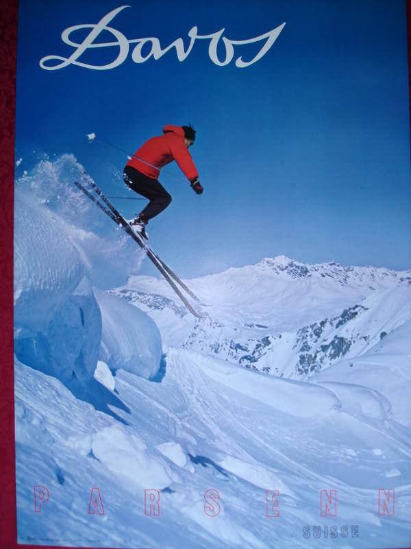Original 1960's DAVOS ski poster