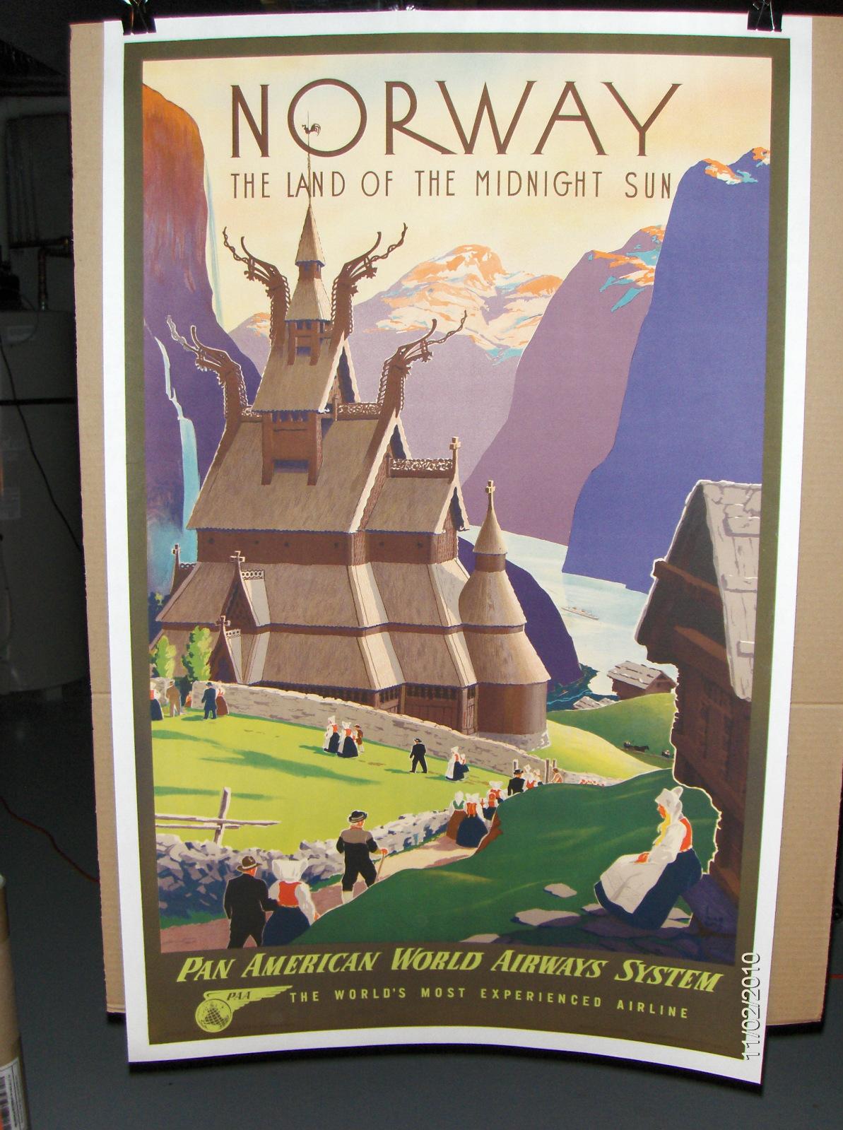Original Vintage Pan Am Norway Poster, Ivar Gull