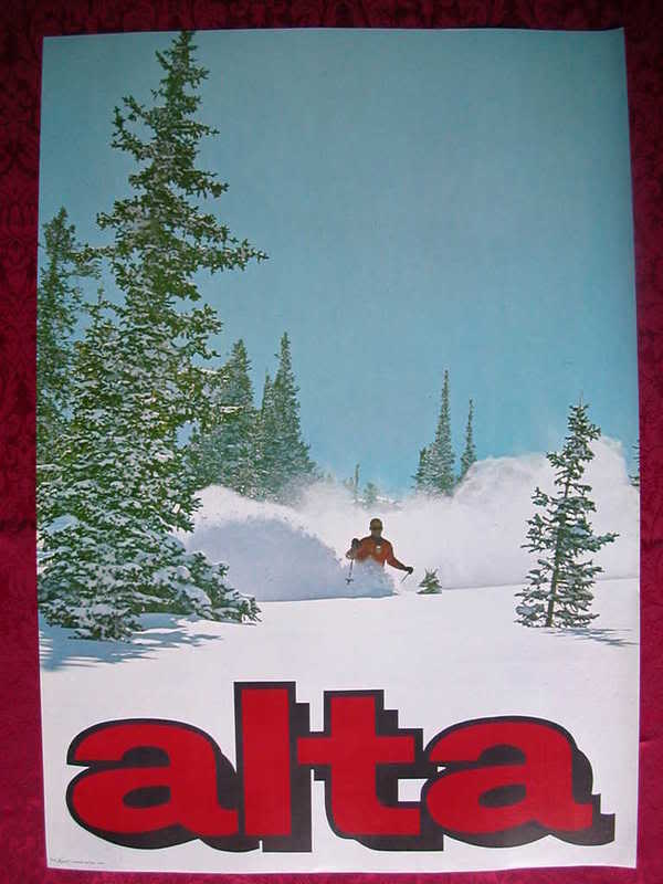 ORIGINAL 1960's ALTA Utah VINTAGE Ski Poster Snow