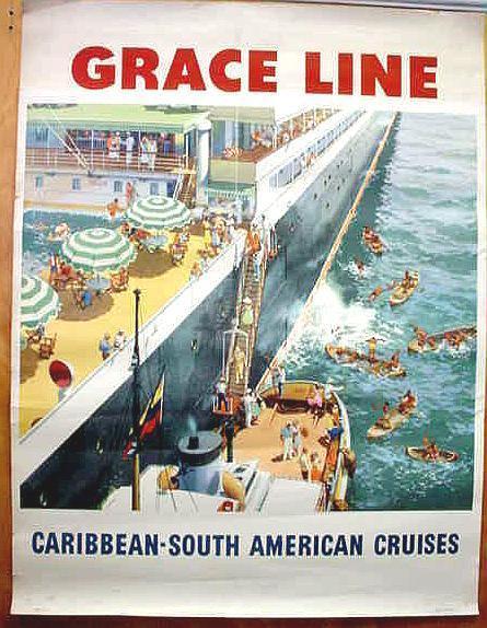 Original GRACE LINE vintage travel poster - NATIVE