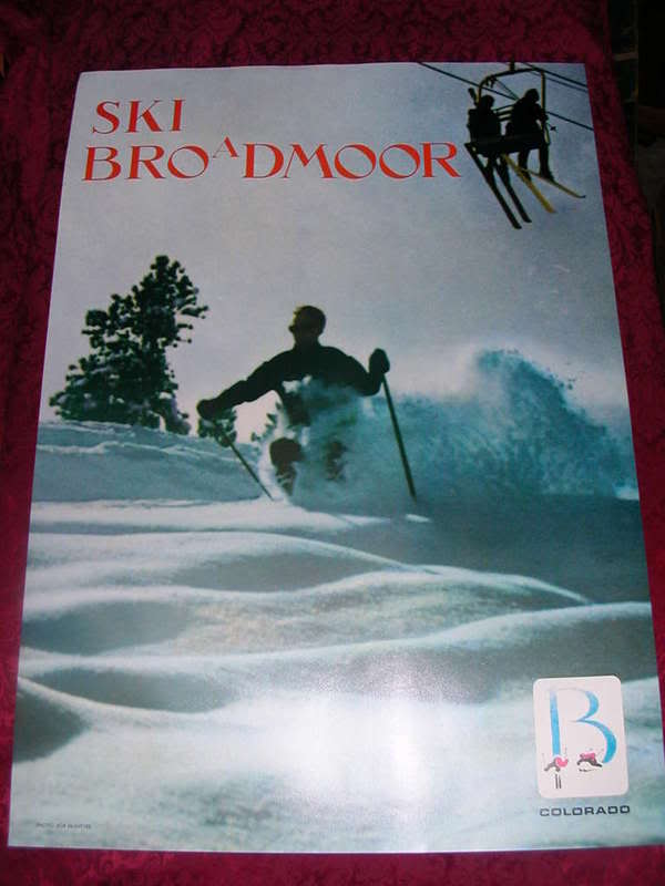 ORIGINAL 1960s BROADMOOR SNOW SKI POSTER COLORADO