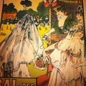 Old Vintage Original Stone Lithograph Litho Poster