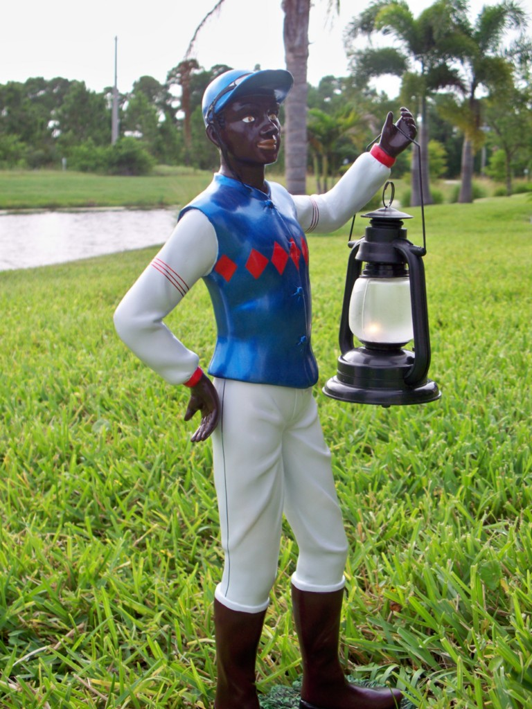 bluehorse2222store jocko black lawn jockey garden statue