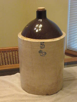 anthony1947 : 5 GALLON STONEWARE CROCK JUG WITH BLUE 5 ...
