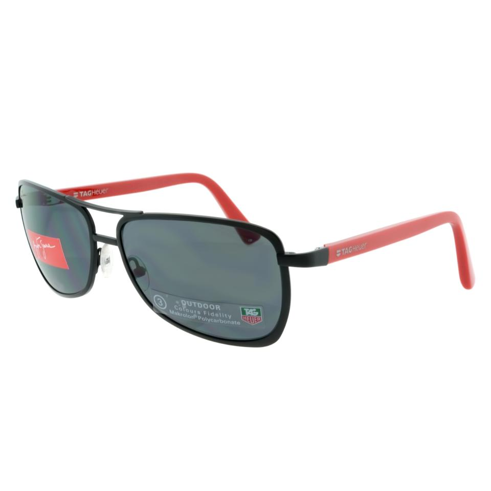775c860b96c6 Tag Heuer Senna 0981 102 Aviator Sunglasses Black and Red with Grey Outdoor  Lens