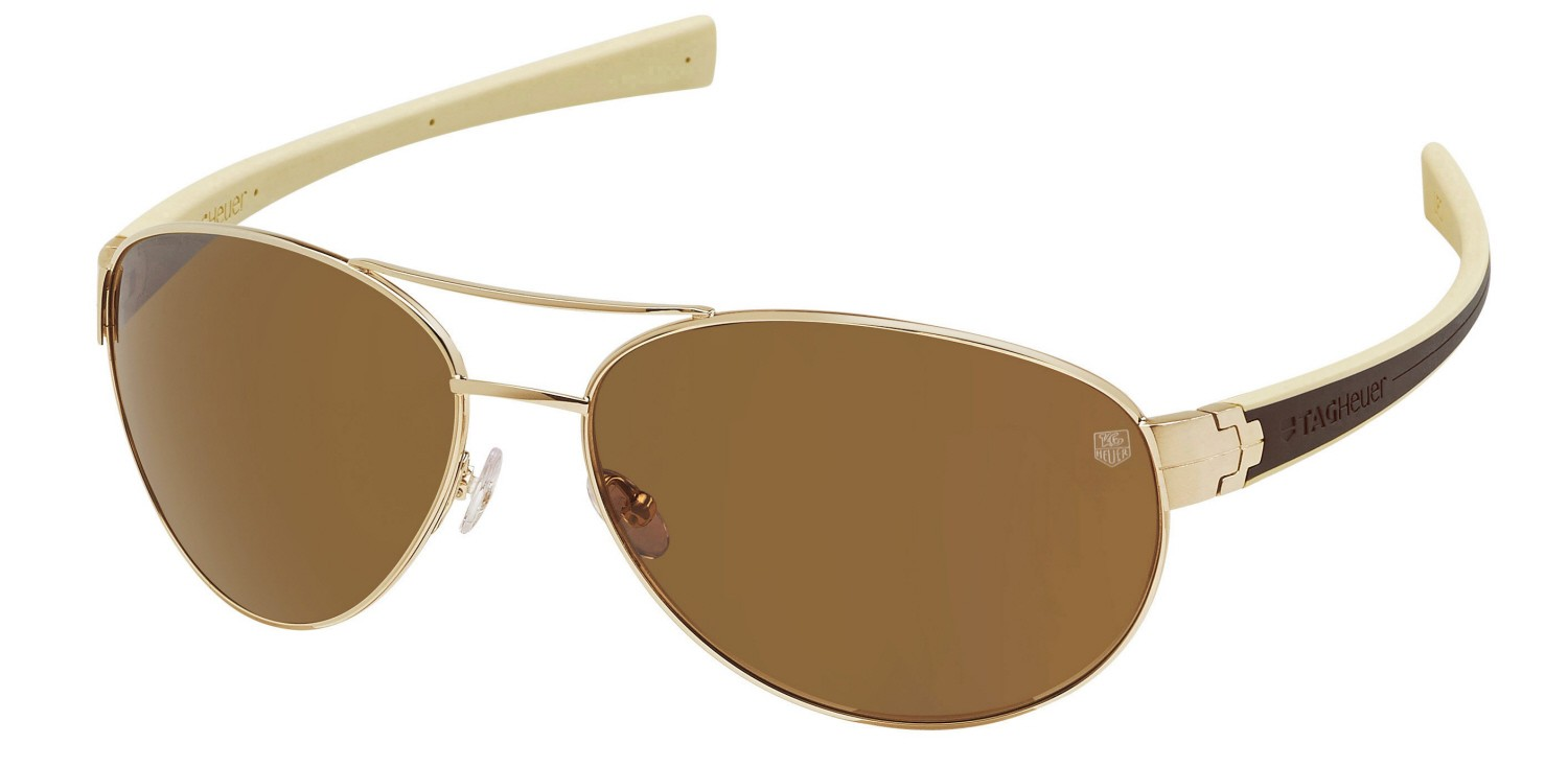3590ef1bfc7ce TAG Heuer Aviator Sunglasses Gold Brown and Ivory Frame Outdoor Brown Lens