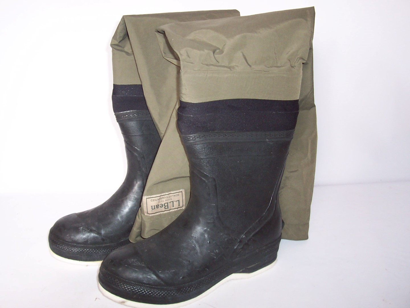 Ll bean hip waders thigh high fishing waders boots size 10 for Fishing waders with boots