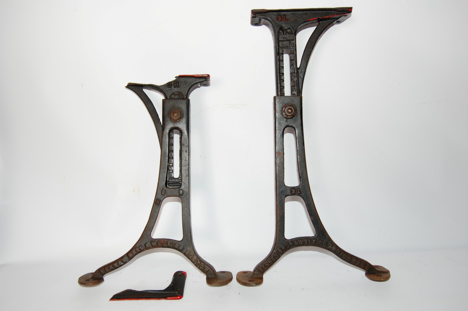 Antique table legs base adjustable cast iron kenney bros for Old iron table legs