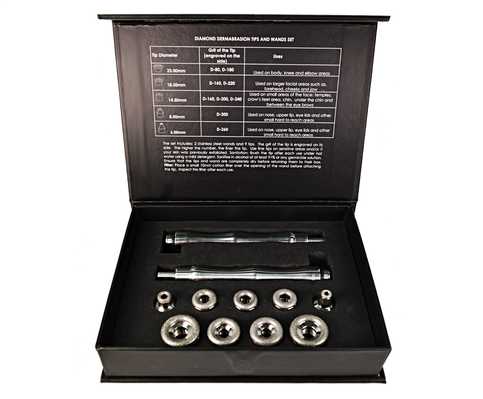 Diamond microdermabrasion tips and wands set. 9 ti