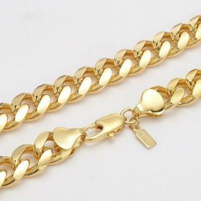chixfashionz 18 carat yellow gold curb necklace 508mm