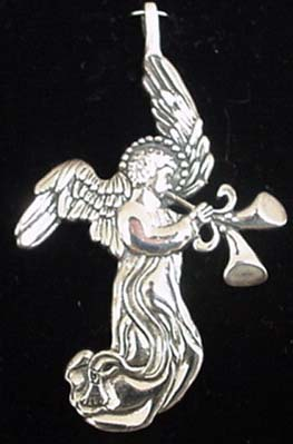 Angel Double Horn Sterling Christmas Ornament 1992