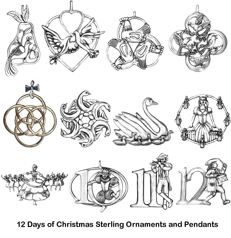 12 Days of Christmas Sterling Ornaments Pendants Complete Set of ...