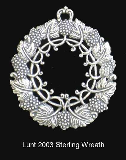 Lunt 2003 Sterling Ornament Christmas Wreath