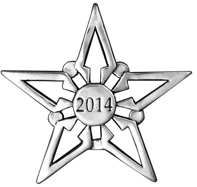 2014 Silver Star Sterling Christmas Ornament Hand